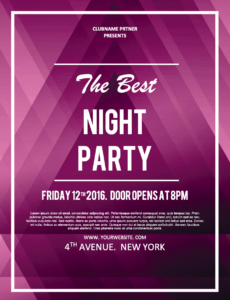 Screenshot of party flyer for word