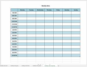 Excel weekly planner in turquoise