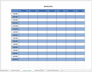 Excel weekly planner in blue
