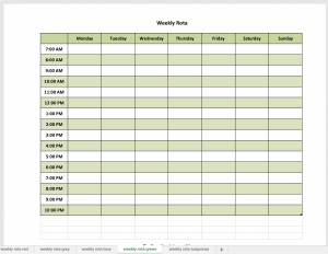 Excel weekly planner in green