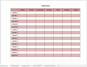 Excel weekly planner in red