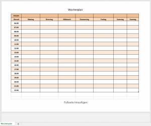 Excel-Wochenplan in Rot